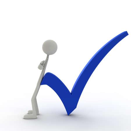 figure lean against a check mark - blue