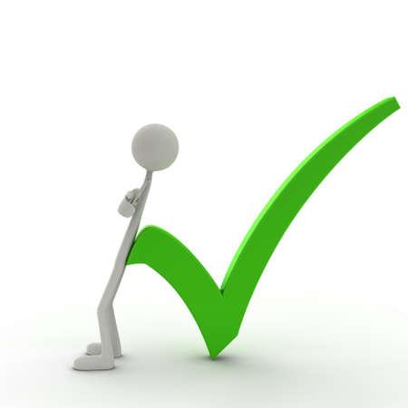 figure lean against a check mark - green Stock Photo