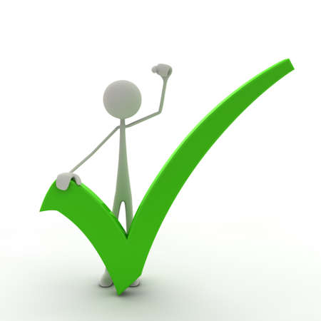correct mark: figure with a check mark hold his fist in the air - green Stock Photo