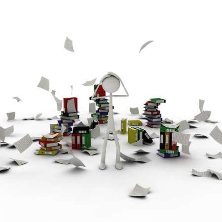 una figura de papel en el caos tener las manos en la cabeza
