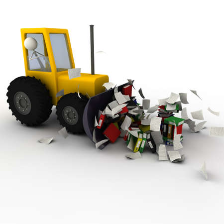 chaos: hydraulic shovel removing the paper chaos - paper Stock Photo