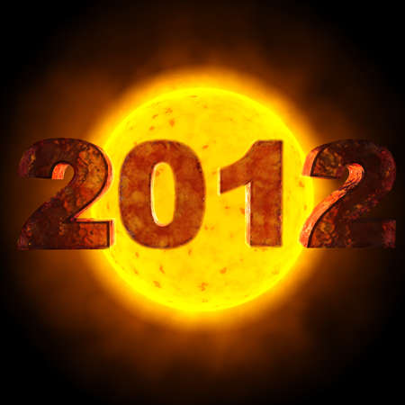 image with the date of 2012 - behind the date is the sun Stock Photo - 13142894