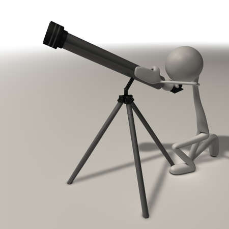 a abstract man looks trough a telescope Stock Photo - 13149362