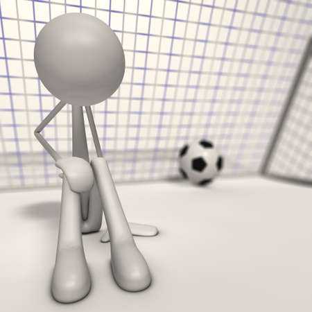 a depri goalkeeper sit ahead the goal - focus man Stock Photo - 13143454