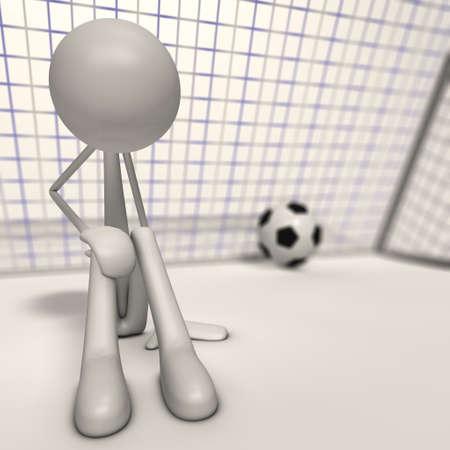 bmwa: a depri goalkeeper sit ahead the goal - focus man