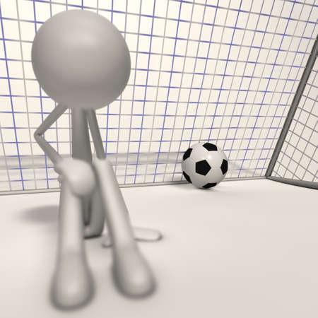 a depri goalkeeper sit ahead the goal - focus ball Stock Photo - 13143299