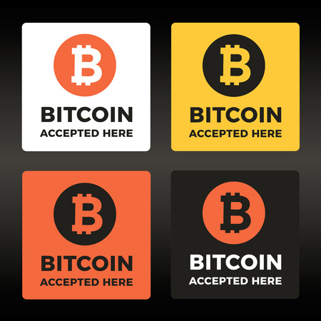 decentralization: World cripto currency Bitcoin vector sticker, lable, icon set. Accepted badges.