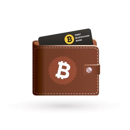 technology transaction: Bitcoin wallet with bank card. Blockchain bank card on bitcoin cripto currency technology.