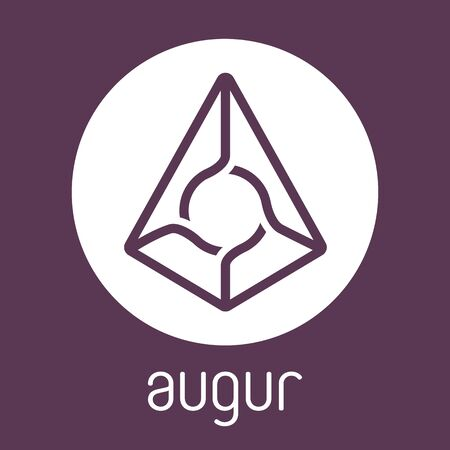 augur: Augur REP open-source cripto currency on blockchain technology vector, icon, sign for print and web.
