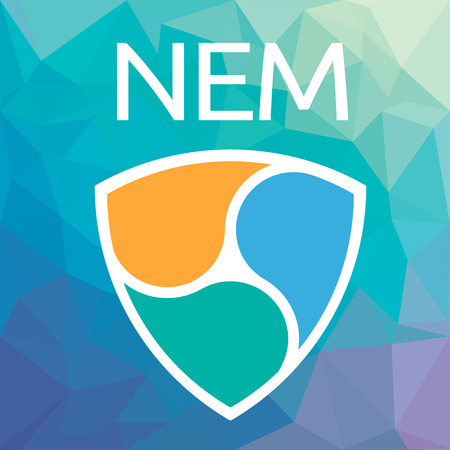 NEM XEM open-source cripto currency on blockchain technology vector, icon, sign for print and web.
