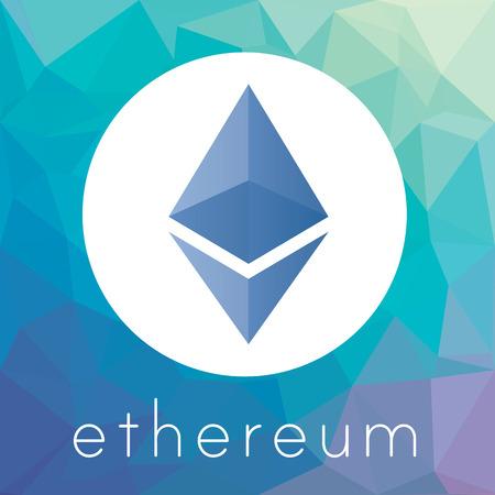 Ethereum cripto currency chrystal art icon logo
