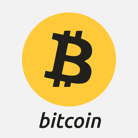 metal net: Bitcoin cripto currency blockchain flat logo. Block chain coin sticker for web or print. Illustration