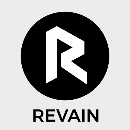 Revain (R) black and white vector logo. First Trustworthy Review Platform, Built With Blockchain Technology and crypto currency