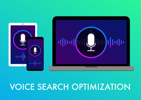 Voice search optimization, Search by Voice flat vector banner illustration and icons on the gradient background