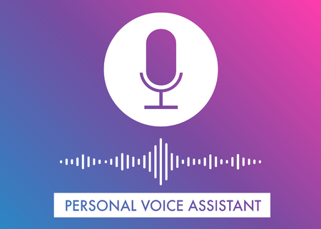 Voice Assistant flat vector illustration, voice search recognition concept for website banner and icons on the gradient background Illustration