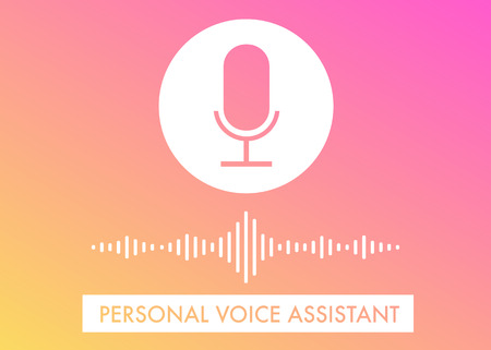 Personal Voice Assistant flat vector illustration, voice search recognition, website banner and icons on the gradient background Vektoros illusztráció