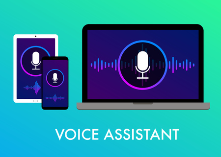 Personal Voice Assistant flat vector illustration, Tablet PC, Mobile, Laptop voice search, website banner and icons on the gradient background