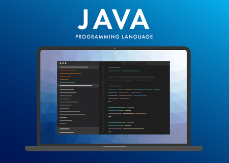 Java programming language. Learning concept on the laptop screen code programming. Command line interface with flat design and gradient purple background.