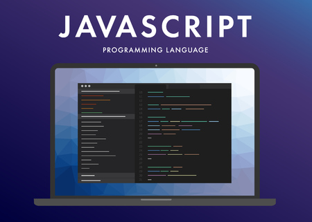 Javascript programming language. Learning concept on the laptop screen code programming. Command line interface with flat design and gradient purple background.
