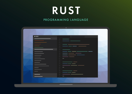 Rust programming language. Learning concept on the laptop screen code programming. Command line interface with flat design and gradient purple background.