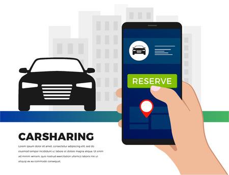 Car-Sharing-Service-Illustrationskonzept im flachen Design. Carsharing-Fahrdienst-App - suchen Sie mit Ihrem Smartphone nach Fahrgemeinschaften. Für Banner, Slider, Präsentation. Vektorgrafik