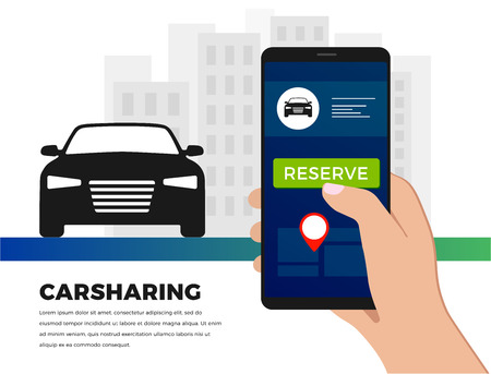 Car-sharing service illustration concept in flat design. Carsharing ride service app - search for carpool auto from your smartphone. For banner, slider, presentation.