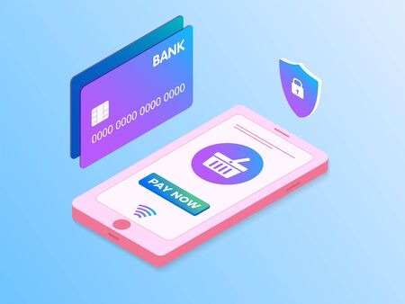 Easy mobile payment flat Vector Isometric 3D concept. Concept of mobile checkout payments, shopping smartphone, personal data protection. Phone and Bank card design template, landing page Illusztráció
