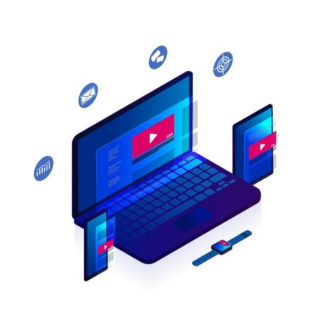 Programmatic Native Advertising and targeting marketing. Cross-device and multi target audience ads strategy. Laptop, Tablet PC, mobile phone and smart watch isometric vector icon
