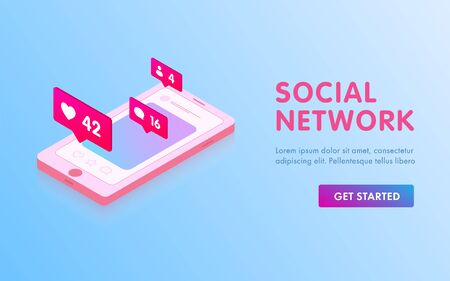 Social Media 3d isometric design. Image of mobile smart phone with like icons, message and subscribers. Communication in social media networks. Illustration for website, banner and promotional.