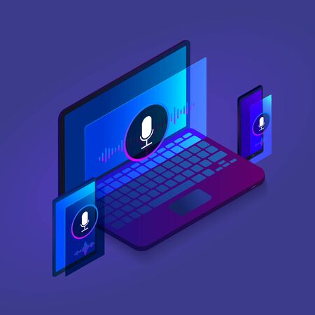 Voice search optimization isometric design modern icon, Search by Voice technology for banner illustration, website template with laptop, tablet and mobile phone on dark background. Çizim