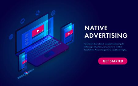 Native Advertising and Programmatic targeting marketing. Cross-device and multi target audience ads strategy. Laptop, Tablet PC, mobile phone and smart watch isometric vector icon
