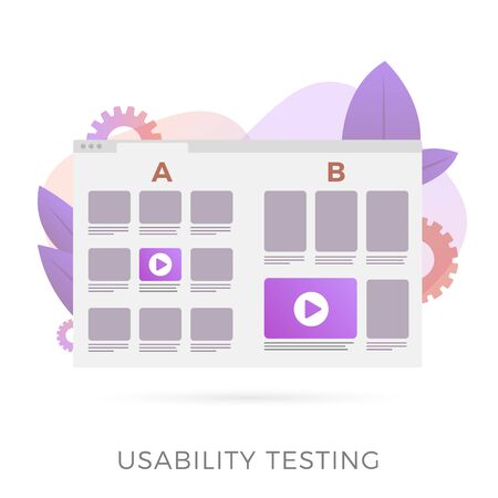 Usability testing with prototype of two different UI web app interfaces for test. A-B comparison with positive feedback, flat vector concept illustration isolated on white background