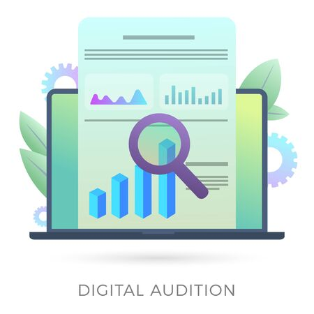 Digital Audition vector icon concept with financial data analysis, seo analytics and marketing research with charts graphs and a magnifier on a laptop screen. Isolated on white background. Illustration