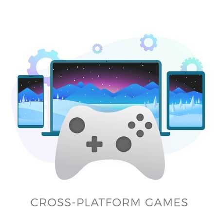 Jeux multiplateformes - lancement de jeux vidéo avec chargement rapide et sauvegarde des fichiers de progression sur plusieurs appareils - téléphone, tablette et ordinateur. Appareils de jeu plats avec une manette de jeu au premier plan