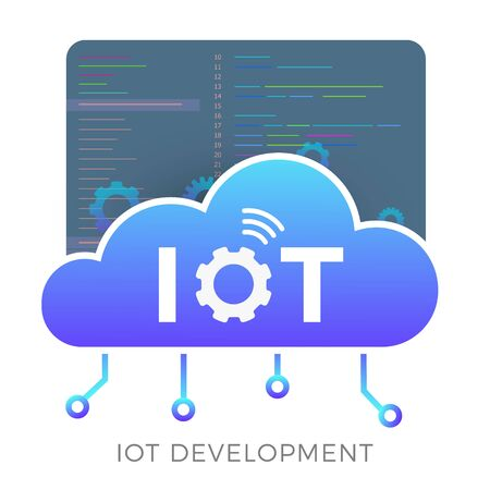 IOT development vector icon concept with smart cloud, gears and a window with program code in the background. Software development for Internet of Things, machine learning or big data graphic sign