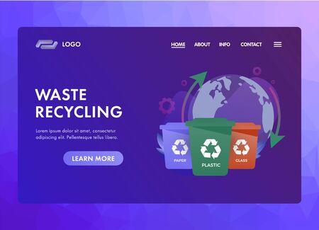 Waste Recycling concept for saving the planet with separate collection of garbage for their further processing that helps fight environmental pollution. UI UX web vector template or landing page.