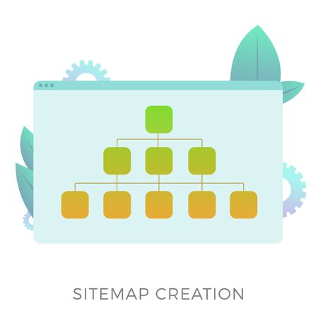 Sitemap creation vector icon. The branched map allows informing search engines about the current website structure or more convenient navigation for the user. Search engine optimization business.