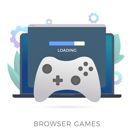 Browser Games flat vector icon. A laptop with an open browser window in which the game loads. The concept of streaming games directly in the web-browser. Ilustração