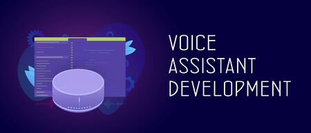 Smart Voice Assistant development application cooncept. Smart speaker with wireless voice assistant app software with developer code window. Header and footer banner template with text