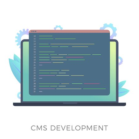 Website content management system (CMS) development flat vector icon. Programming and installation cms for website managing. Laptop with code window isolated on white background.