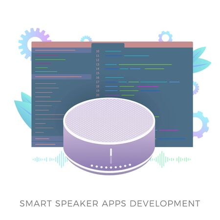 Smart speaker apps development flat vector icon. Wireless virtual voice assistant application software with developer code window. Isolated on white vector illustration.