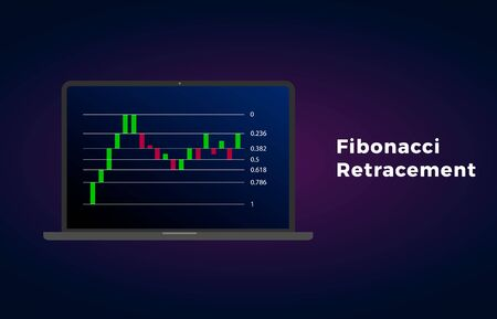 Fibonacci Retracement - technical analysis for determining support and resistance levels. Horizontal line on the Price Chart patterns. Stock, cryptocurrency graph, forex, trading market price breakout
