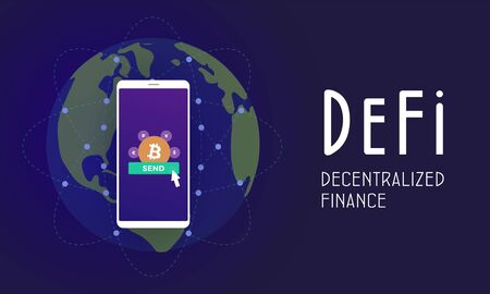 Decentralized finance (DeFi) - open-source community of projects, using blockchain, that develops solutions in decentralized financial system. Flat vector illustration DeFi fintech isolated concept.