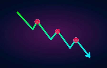Downtrend trend definition flat icon - bearish chart pattern figure technical analysis. Vector stock and cryptocurrency exchange graph, forex analytics, trading market price Ilustração