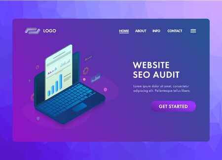 Website SEO audit with online search engine analysis and analytics report. Laptop with graphic and audit documentation. UI isometric vector web page template for landing page, banner or hero images.