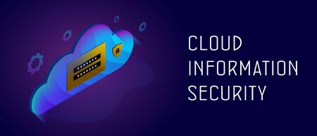 Cloud Information Security concept. Backup data storage on web hosting or cloud technology service with login and password field and padlock shield icon. Header and footer banner template with text Ilustracja