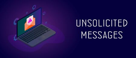 Isometric laptop with envelope icon and e-mail notification with unsolicited messages warning icon. Malware spreading and irrelevant spam mail message concept. Header or footer vector banner template. Illustration