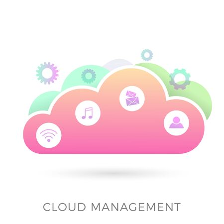 Cloud Management flat vector icon. Few clouds with icons - wireless network, digital multimedia, music, e-mail messages and people. Hosting and data processing, business and technology concept.