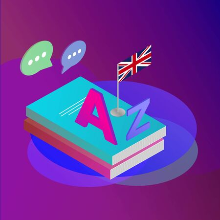 Learning and teaching english languages. Books with Great Britain flag and A, Z English letters of Latin alphabet. Isometric 3d vector flat concept Ilustração