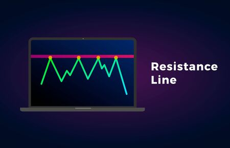 Resistance level line flat icon with laptop and text - chart pattern figure technical analysis. Vector stock and cryptocurrency exchange graph, forex analytics, trading market price